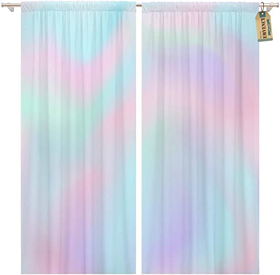 Golee Window Curtain Blue Iridescent Ombre Pink Gradient Color Pattern Pastel Rainbow Home Decor Pocket Drapes 2 Panels Curtain 104 x 96 inche
