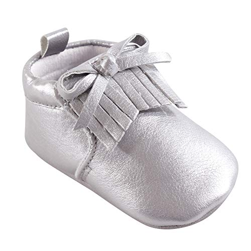 (Hudson unisex-baby Moccasin Booties, Silver, 6-12 Months Standard Width US Infant)