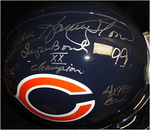 (Dan Hampton Hand Signed Auto Replica Full Size Football Helmet HOF Stats JSA WP)