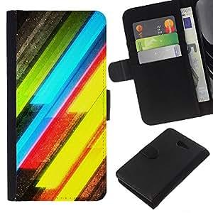 All Phone Most Case / Oferta Especial Cáscara Funda de cuero Monedero Cubierta de proteccion Caso / Wallet Case for Sony Xperia M2 // Neon Lines Yellow Green Electric