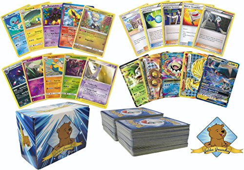 Pokemon Gotta Collect 'em all Golden Collection Box - 200 Assorted Pokemon Cards! Rares Foils Holos! Bonus GX, EX, MEGA EX and Break! Includes Golden Groundhog Box!