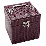 Soaptree Mirror Removable Trays Earring Ear Studs Ring Leather Necklace Box Bracelet Watch Storage Case(C-Purple)