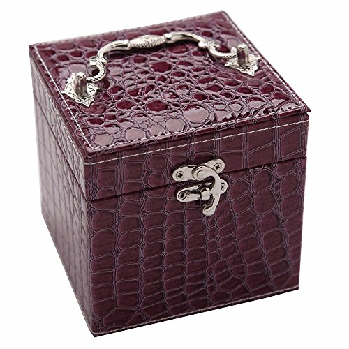 Soaptree Mirror Removable Trays Earring Ear Studs Ring Leather Necklace Box Bracelet Watch Storage Case(C-Purple) by Soaptree