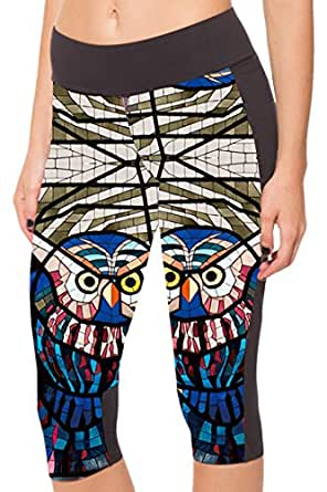 COCOLEGGINGS Women's Art Night Owl Printed Fitness Workout Cropped Leggings S