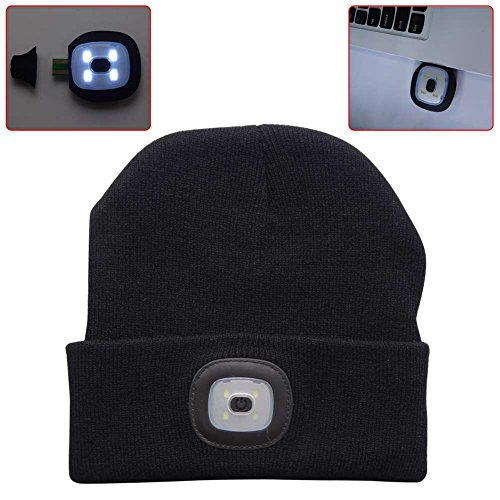 4LED Knit Hat, XY ZONE USB Rechargeable Hands Free Flashlight Cap for Climbing Fishing (black)