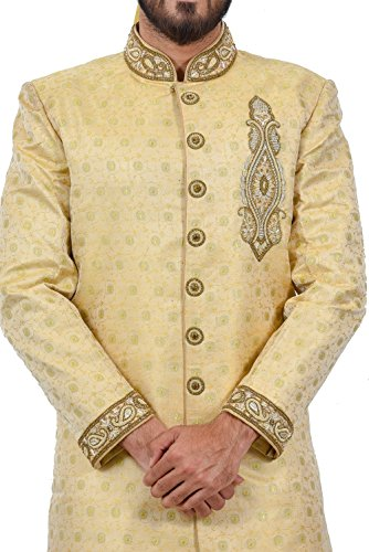 Golden Zari Brocade Silk Traditional Indian Wedding Indo-Western Sherwani for Men by Saris and Things (Image #3)