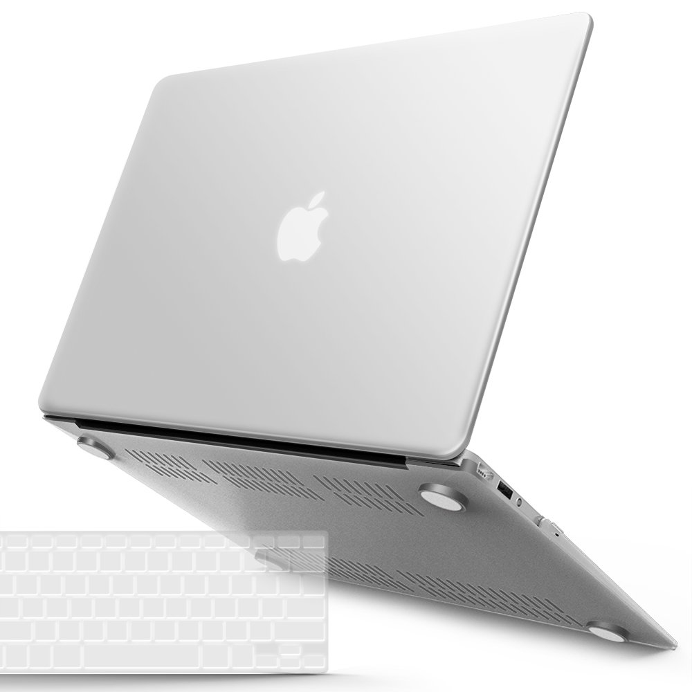 iBenzer Basic Soft-Touch Series Plastic Hard Case & Keyboard Cover for Apple Macbook Air 13-inch 13'' A1369/1466 (Clear)