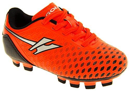 Gola Activo 5 Niños Zapatos de Fútbol de Césped Artificial Naranja y Plata