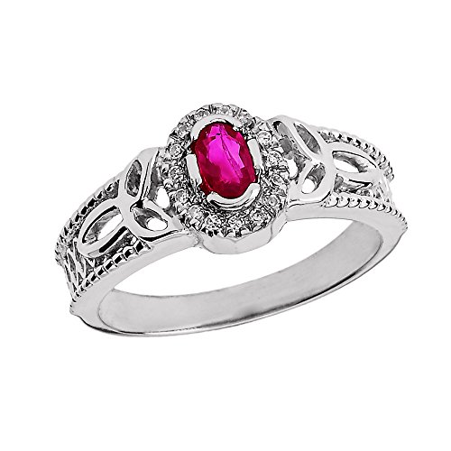 10k White Gold Ruby and Diamond Trinity Knot Ladies Proposal Ring
