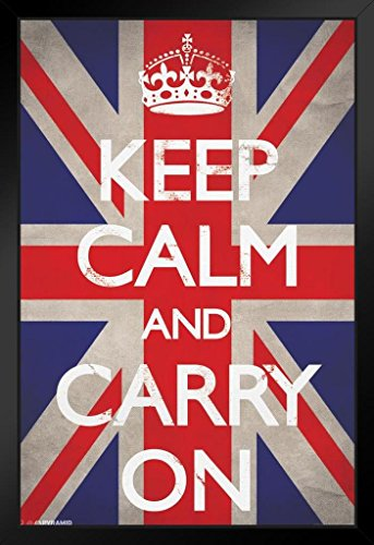 Calm Framed - Pyramid America Keep Calm and Carry On Union Jack Flag WWII Wartime Great Britain Motivational Framed Poster 14x20 inch