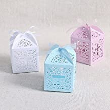 Apatner New 50 Pack Cross Laser Cut Favor Box Christening Baby Shower Bomboniere with Ribbons Party Favors Pink