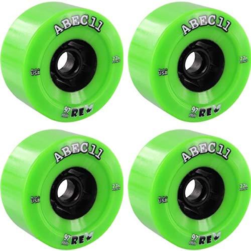 ABEC 11 Flywheels ReFly Lime/Black Longboard Skateboard Wheels - 97mm 77a (Set of 4)
