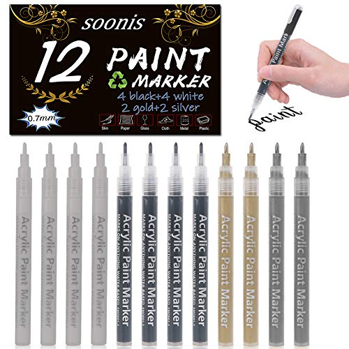 Acrylic Paint Pens 12 Pack (4 Black 4 White 2 Gold 2 Silver) 0.7mm Painting Marker DIY Craft Making Supplies Used for Permanent Marking of Rock Ceramic Glass Plastic Wood Fabric Canvas Mug