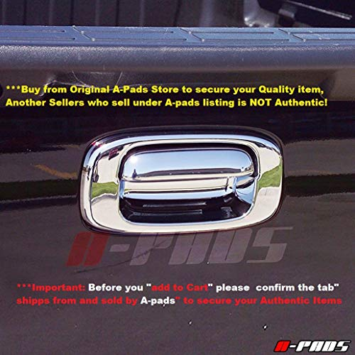 Handle Tailgate Chrome Silverado (A-PADS Chrome Tailgate Handle Cover for Chevy Silverado [All Models] 1999-2006 + Classic 2007 - Without Keyhole)