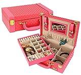 COMVIP Women's Travel PU Leather Jewelry Box Organize Case with Mirror Rose