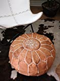 Six Canyons Circle Cognac Leather Ottoman – Authentic Handmade Moroccan Pouf – Delivered Unstuffed – 100% Morocco Tan Goatskin Leather