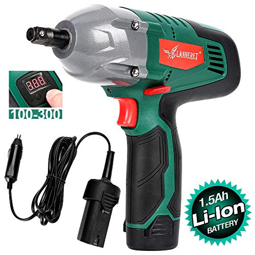 LANNERET Cordless Electric Impact Wrench Kit,Double Power Battery-Powered or Corded-Electric ,300 ft-lbs 400 N.M Torque,1 2 Inch 12 Volts Portable Car Impact Wrench,Digital Display Torque Adjustable
