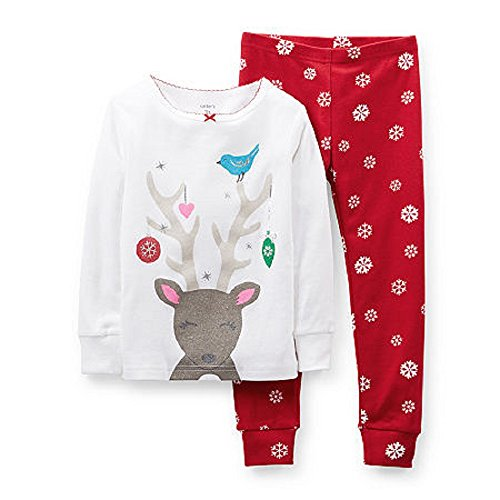 Carter's Baby Girls 2 Pc Cotton Snug Fit Holiday Pj's Pajamas