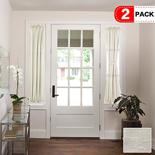 H.VERSAILTEX Functional Airy and Breathable French Door Curtain Rich Linen Home Fashion Semi Sheer Curtains, Rod Pocket Door Panel, Set of 2, Multi Size, 25 x 72 - Inch - Natural