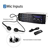 Pyle PMXAKB1000 - 1000 Watt DJ Karaoke Mixer and Amplifier with Built-in Bluetooth - 2 Microphone Inputs with Effects and EQ