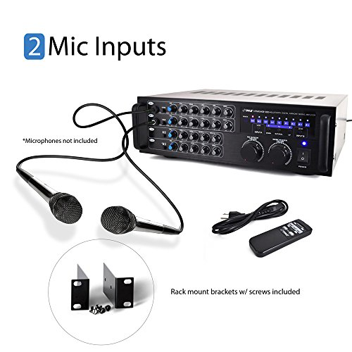 Pyle Pro 1000 Watt Portable Wireless Bluetooth Stereo Mixer Karaoke Amplifier System with Dual Mic / RCA Audio / Video Inputs, Speaker Output for Instant Home Karaoke, DJ Party - PMXAKB1000
