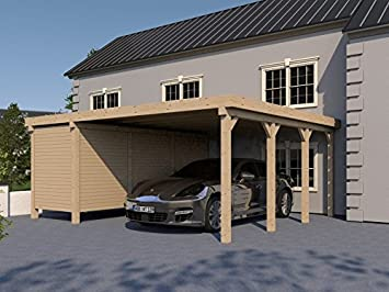 Carport Flachdach SILVERSTONE XVII 600x600 cm mit Geräteraum ...