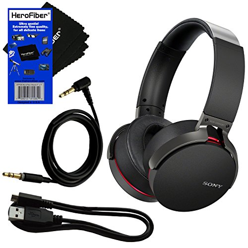Sony MDRXB950BT/B Extra Bass Bluetooth & NFC Technology Headphones with Built-in microphone (International Version) + Micro USB Cable + Headphone Cable + w/ HeroFiber Cleaning Cloth