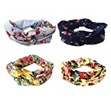 DRESHOW 4 Pack Headbands Vintage Elastic Printed Head Wrap Stretchy Moisture Hairband Twisted Cute Hair Accessories