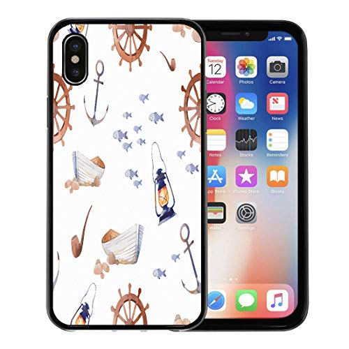 Semtomn Phone Case for Apple iPhone Xs case,Pattern Watercolor Nautical Cartoon Sea Old Boat Anchor Fishes Smoking Pipe Lantern Wheel on Fish for iPhone X Case,Rubber Border Protective Case,Black