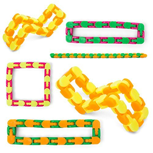 Snap And Click Fidgets, Set Of 6 Twist And Shape Puzzle Toy, 10.75 Inches (Assorted Colors) 24 Links Each For Sensory Relief Fidget, Party Favor, Stocking Stuffers For Home And School Reward ()