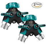3 way faucet valve - ZAYAD Y Hose Splitter 2 Way, Body Metal Garden Hose Connector with Comfortable Rubberized Grip with Outdoor Faucet, Sprinkler & Drip Irrigation Systems,Bonus Included: 6 Washers (2-Packs)