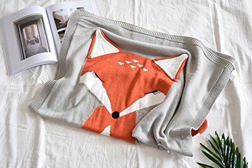 Lldaily Children Knitted Throw Blanket Sleeping Cover Blanket Crib Wrap Blanket For Newborn Baby(Fox/Light grey for Baby Bedroom,Sofa,Play Rug)