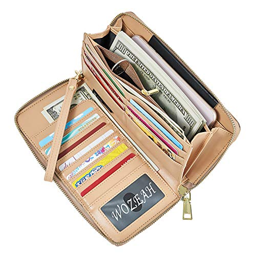 - WOZEAH Women's RFID Blocking PU Leather Zip Around Wallet Clutch Large Travel Purse (gold)