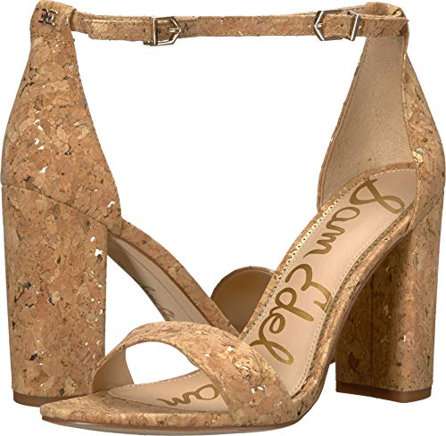 Sam Edelman Women's Yaro Ankle Strap Sandal Heel Natural/Gold Metallic Fleck Cork 10 W US