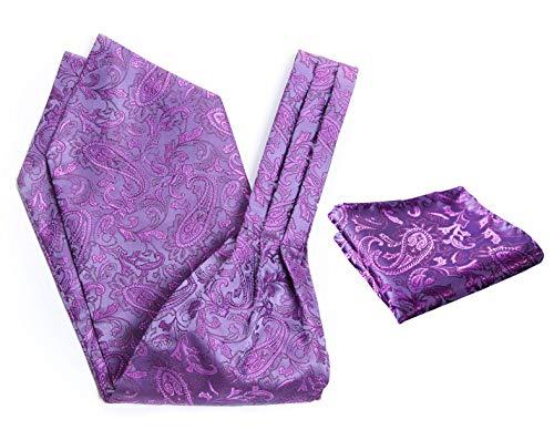 (SetSense Men's Floral Paisley Jacquard Woven Self Cravat Tie Ascot Set One Size Purple)