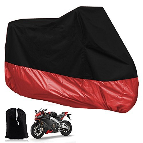 All Season Motorcycle Motorbike Cover, Waterproof Dustproof Rain UV Protective Heavy Duty Moped Scooter Bike Storage Breathable Extra Large Outdoor Protector, Red XL 245x105x125cm + [Carry Bag] (Ktm Fender Tool Bag compare prices)