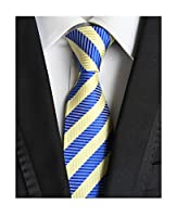 MINDENG Classic Striped Blue Yellow Jacquard Woven 100% Silk Men's Tie Necktie