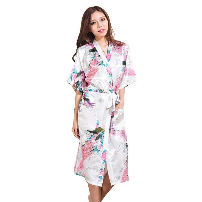 Mujer Kimono Verano Satín Albornoz Moda Chic Hermoso Especial Estilo Elegantes Batas Mangas 3/4 Patrón De Flores V-Cuello con Cinturón Pijama Camisones: ...