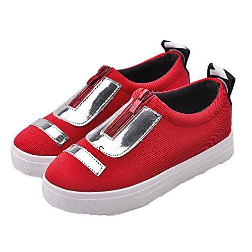 AgooLar Femme à Talon Bas Toile Tire Fermeture d'orteil Chaussures Légeres Rouge Uvdsej