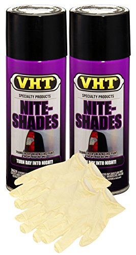VHT Nite-Shades Lens Cover Translucent Black Paint (10 oz) Bundle with Latex Gloves (6 ()