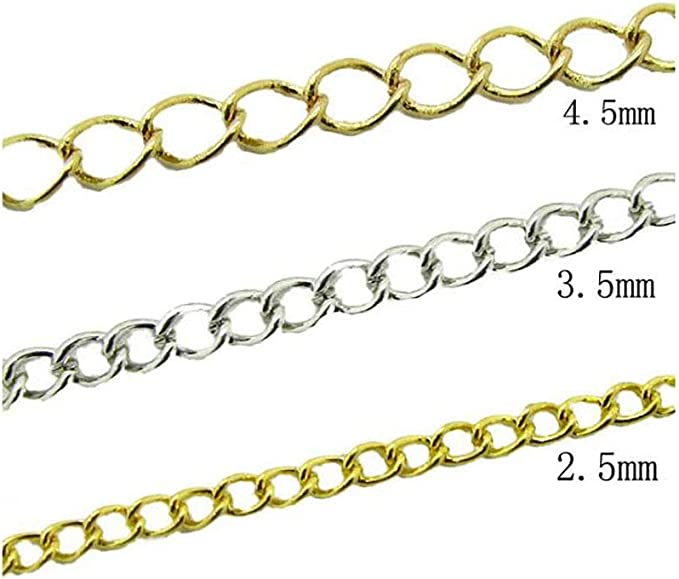 Bronze, 2.5mm Cable Link Chain 32.8 Ft Curb Chain Twisted Flat Cross Chains Necklace Bulk Cable for Jewelry Accessories DIY Making