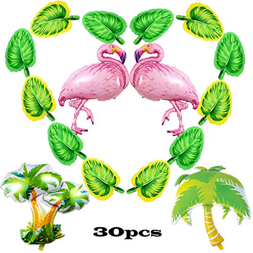 Coodoo Aloha Summer Party Supplies Birthday Party Decorations Giant Flamingo Tropical Palm Tree Balloons for Birthday Baby Shower -