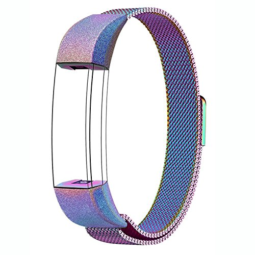 SWEES Metal Bands Compatible Fitbit Alta & Fitbit Alta HR Bracelet, Replacement Small (5.5 - 8.6) Stainless Steel Magnetic Wristband Watch Band for Women, Men, Rose Gold, Black, Silver, Colorful