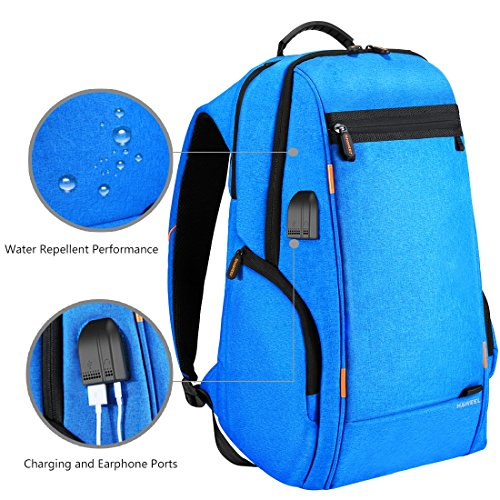 HAWEEL Outdoor Multi-function Solar Panel Power Breathable Casual Backpack Laptop Bag School Bookbag for College Travel Backpack, With USB Charging Port & Earphone Port (Blue) by HAWEEL (Image #2)