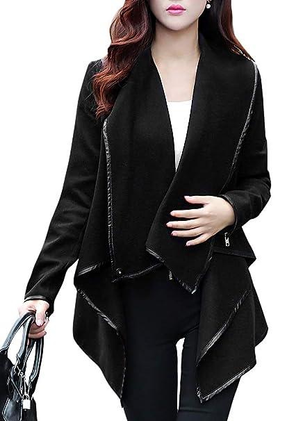 d2c31dd4957 Romacci Women Open Front Poncho Coat Asymmetric Thin Jacket ...