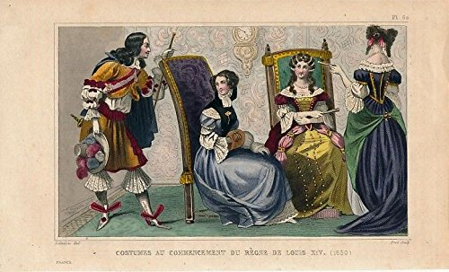 Ceremonial dress reign of Louis XIV ca. 1840 old hand color Ethnic costume print