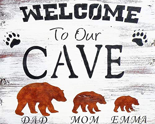 Personalized Welcome To Our Cave Hand Painted Brown Bear Sign, Handmade Personalized Rustic Bear Cabin Welcome Sign, Distressed Wood Mountain Home Custom Name Bear Welcome Sign
