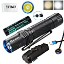 Olight M2R Warrior 1500 Lumen Cree XHP35 HD LED USB Magnetic Rechargeable Dual switches Tactical Flashlight,with Magnetic Charging Cable,Customized 18650 Battery,and SKYBEN Accessory (Cool White)