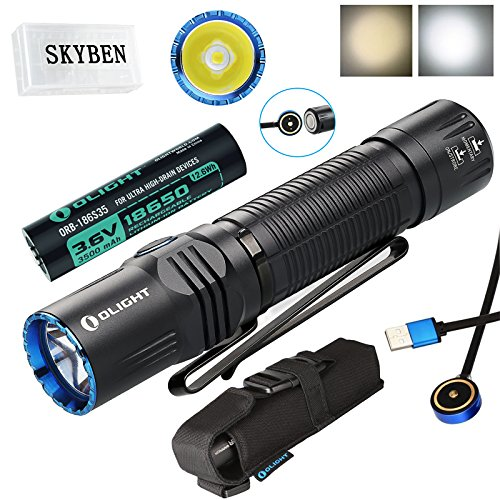 (SKYBEN Olight M2R 1500 Lumen Cree XHP35 HD LED USB Magnetic Rechargeable Dual switches Tactical Flashlight,with Magnetic Charging Cable,Customized 18650 Battery Accessory (Cool White))