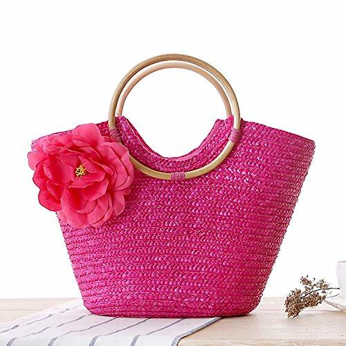 Travel Floral Rose Summer Bag Rose Bag Tote Beach HandBag Bag Girls Woven Women Straw 6vafaq